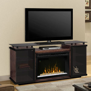 Aiden Electric Fireplace Media Console w/Glass in Peppercorn - GDS33G4-1582PC