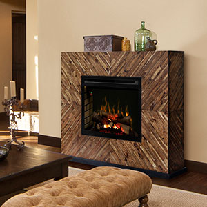 Harris Electric Fireplace Mantel w/ Logs in Natural Acacia - GDS33L4-1557CS