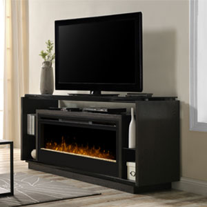 David Electric Fireplace Media Console w/ Glass in Smoke - GDS50G3-1592SM