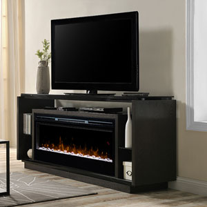 David Electric Fireplace Media Console w/ Acrylic Ice in Smoke - GDS50G5-1592SM