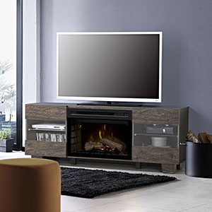 Max Electric Fireplace TV Stand in Elm Brown