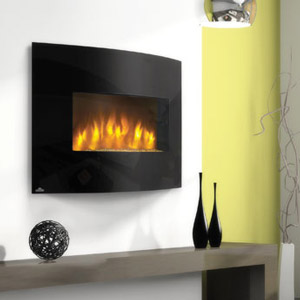 Napoleon 32-Inch Curved Black Wall Mount Electric Fireplace - EFC32H