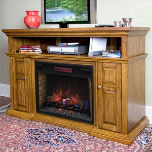 Pasadena Infrared Electric Fireplace Entertainment Center in Premium Oak - 28MM468-O107