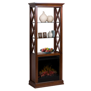 Seabert Walnut Electric Fireplace Etagere - GDS20-1370WN