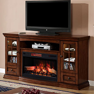 Seagate Infrared Electric Fireplace Entertainment Center in Premium Pecan - 32MM4486-P239