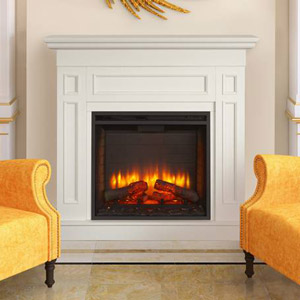Monarch Electric Fireplace Mantel Package in White- MONARCH26-WH