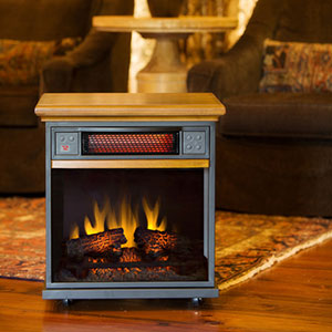 Spencer 20-In 1,000 Sq Ft Oak Portable Fireplace Infrared Heater - 20IF100GRA-O107