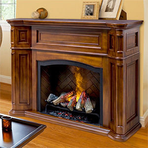 Thompson Burnished Walnut Electric Fireplace Cabinet Mantel Package - GDS29-1262BW