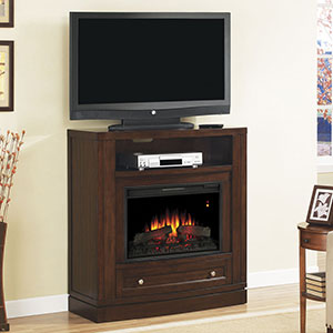 Wesleyan Electric Fireplace Media Console in Meridian Cherry - 26DE6439-C247