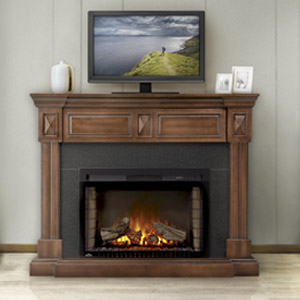 Braxton Electric Fireplace Mantel Package in Burnished Walnut - NEFP29-1215BW
