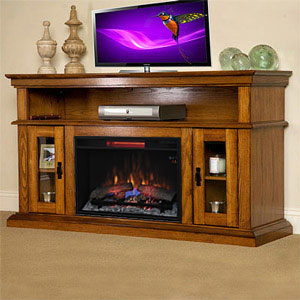Brookfield Infrared Electric Fireplace Entertainment Center in Premium Oak - 26MM2209-O107