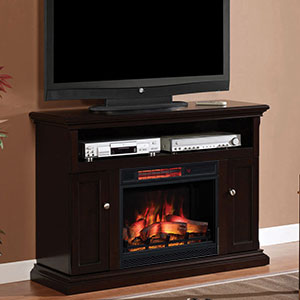 Cannes Infrared Electric Fireplace Media Cabinet in Espresso - 23MM378-E451