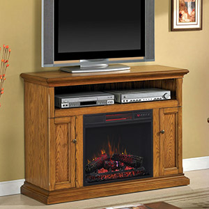 Cannes Electric Fireplace Media Cabinet in Antique Oak - 23MM378-O103