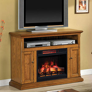 Cannes Infrared Electric Fireplace Media Console in Antique Oak - 23MM378-O103