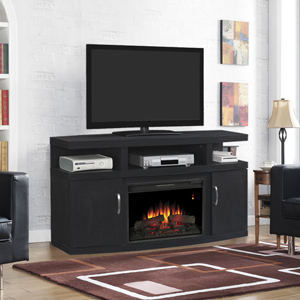 Cantilever Electric Fireplace Media Cabinet in Embossed Oak - 26MM5508-NB04