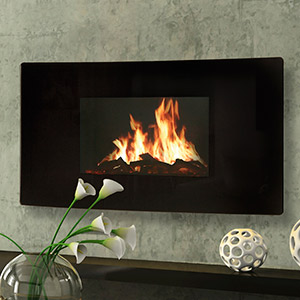 Celsi 39-Inch Curved Black Wall Hanging Modern Electric Fireplace - GL2029USC