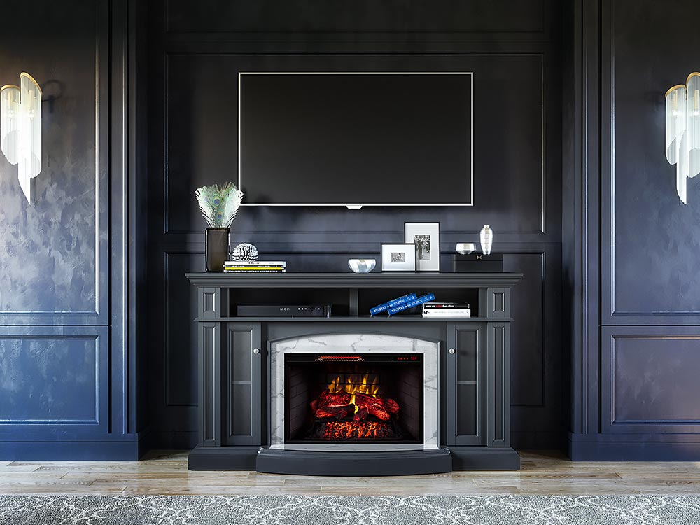 Norwood Infrared Electric Fireplace Tv Stand In Dark Grey 1167fmm 28 200 Scott Living