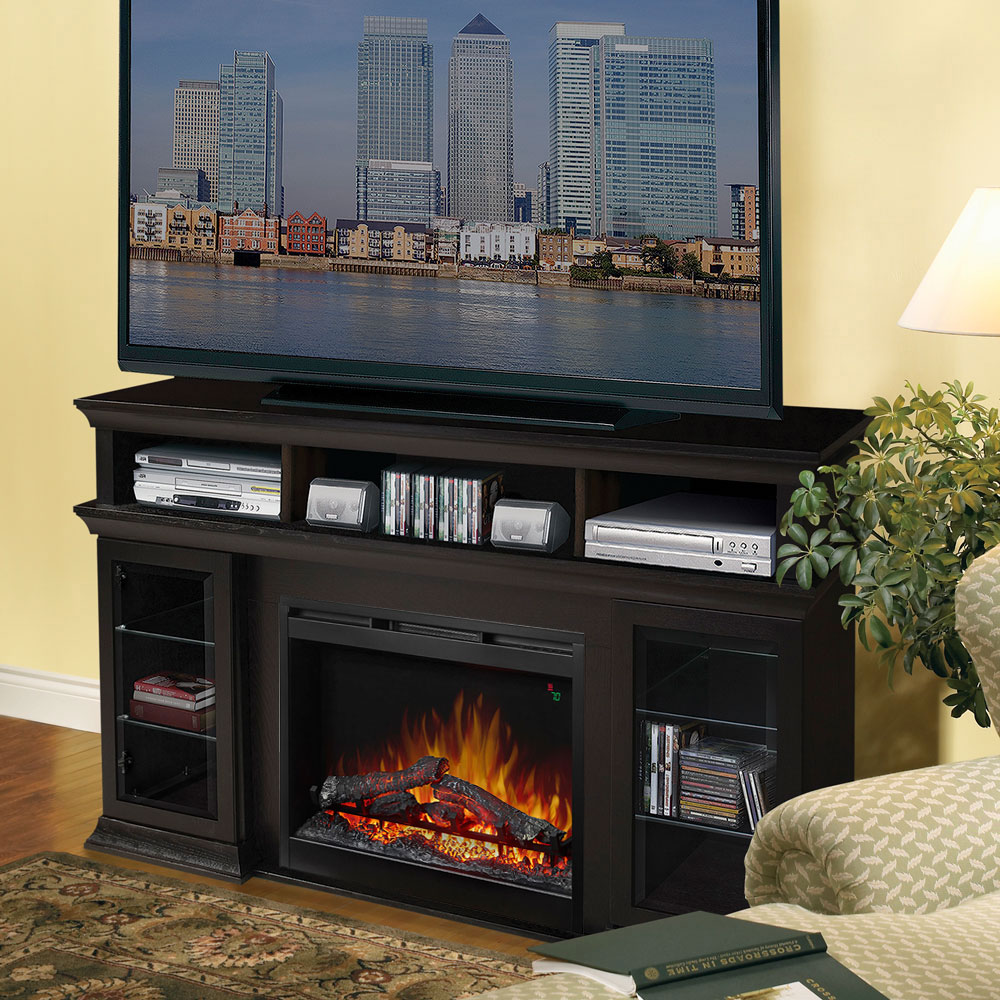 free windham electric main mocha dimplex console fireplace fireplaces shipping logset media