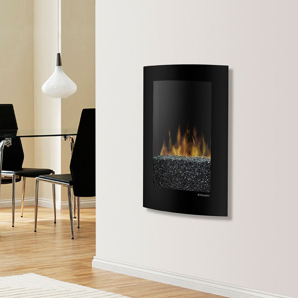 dimplex convex black wall mount electric fireplace  vcx -