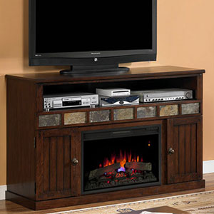 Corner Electric Fireplace Media Center In Premium Oak