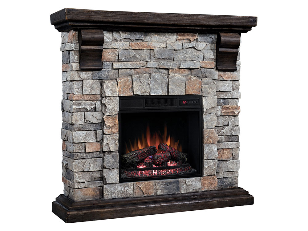 fireplace dimplex smp stone st mantel pine electric fieldstone look and review