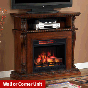 Corinth Wall or Corner Infrared Electric Fireplace Media Console in Vintage Cherry - 23DE1447-C233