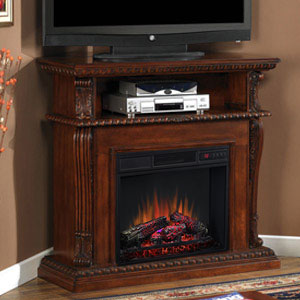 Corinth Wall or Corner Electric Fireplace Media Center in Vintage Cherry - 23DE1447-C233