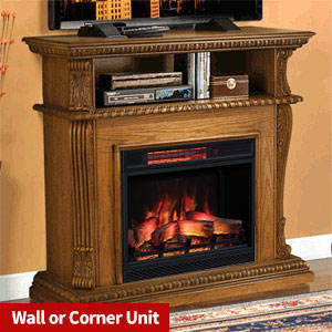 Corinth Wall or Corner Electric Fireplace Media Center in Premium Oak - 23DE1447-O107