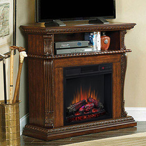 Corinth Wall or Corner Electric Fireplace Media Center in Burnished Walnut - 23DE1447-W502