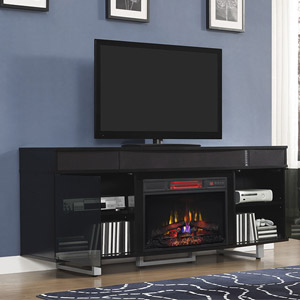 Enterprise Infrared Electric Fireplace Entertainment Center In Black 26mms9626 Nb157
