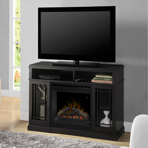 Farley Black Electric Fireplace Media Console w/ Logs - DFP20L-1424RA