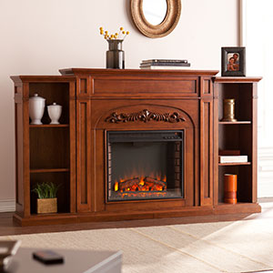 Chantilly Electric Fireplace Mantel w/ Bookcases in Autumn Oak - FE8532