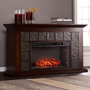 Newberg Electric Fireplace Mantel Package in Warm Brown Walnut - FE9022