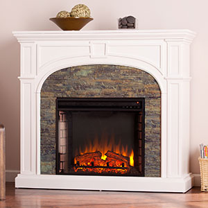 Tanaya Electric Fireplace Mantel Package in White - FE9624