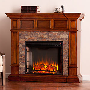 Merrimack Wall/Corner Electric Fireplace Mantel Package in Buckeye Oak - FE9637