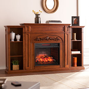 Chantilly Infrared Electric Fireplace Mantel w/ Bookcases in Autumn Oak - FI8532