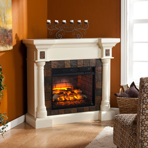 Carrington Wall or Corner Infrared Electric Fireplace in Antique Ivory - FI8749