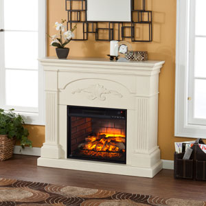 Sicilian Infrared Electric Fireplace Mantel Package in Ivory - FI9275