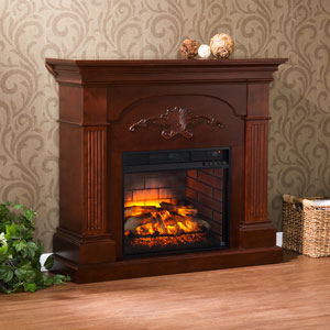 Sicilian Infrared Electric Fireplace Mantel Package in Mahogany - FI9277