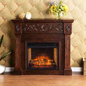 Calvert Infrared Electric Fireplace Mantel Package in Espresso - FI9278