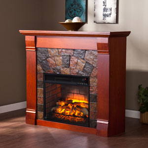 Elkmont Infrared Electric Fireplace Mantel Package in Mahogany - FI9281