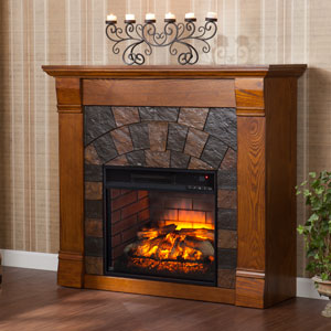 Elkmont Infrared Electric Fireplace Mantel Package in Antique Oak - FI9282