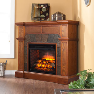Cartwright Wall or Corner Infrared Electric Fireplace in Mission Oak - FI9285