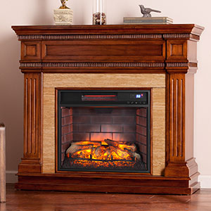 Faircrest Infrared Electric Fireplace Mantel Package in Oak Saddle - FI9617