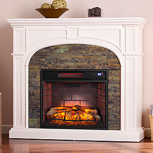 Tanaya Infrared Electric Fireplace Mantel Package in White - FI9624
