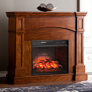 Lantana Infrared Wall/Corner Electric Fireplace Mantel Package in Saddle Oak - FI9625