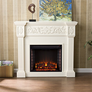 Calvert Electric Fireplace Mantel Package in Ivory - FE9279
