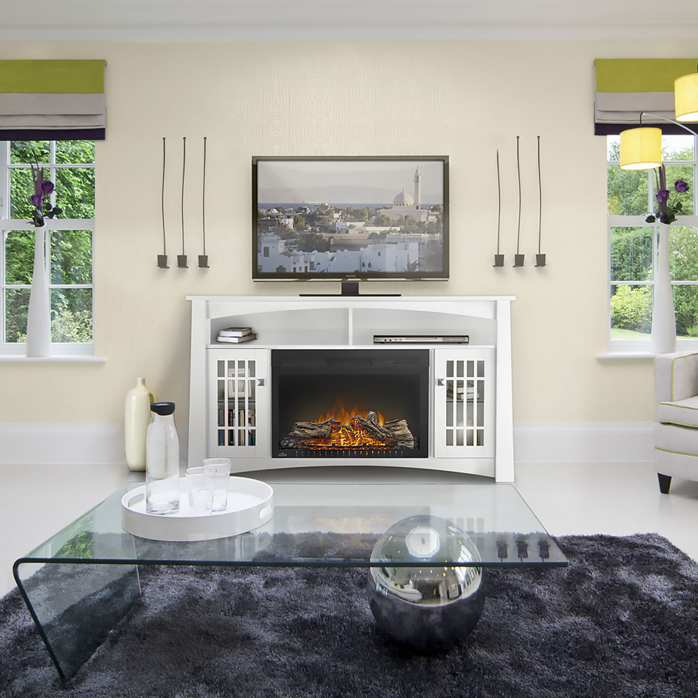 The Adele Electric Fireplace Media Console in White - NEFP27-0815W is a modern interpretation of a mission design. Unit features ample storage & a life-like flame effect.