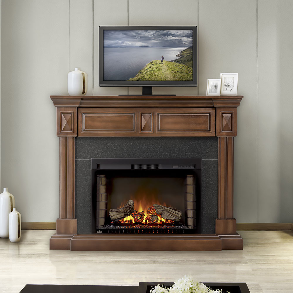 braxton electric fireplace mantel package in burnished walnut