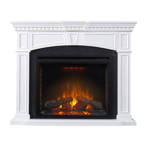 Taylor Electric Fireplace Mantel Package in White- NEFP33 ...